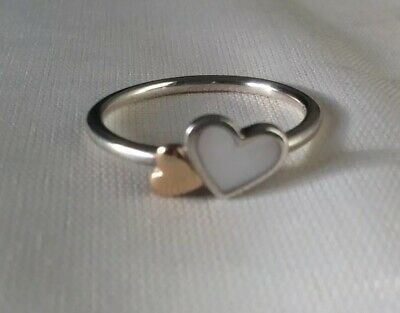 Pandora Silver, Gold, Mother Of Pearl Hearts Ring, Ale 54 • 9.99£
