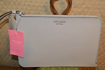 $ CDN52.25 • Buy NWT Kate Spade Cameron Large L-Zip Soft Taupe Leather Wristlet WLRU5447