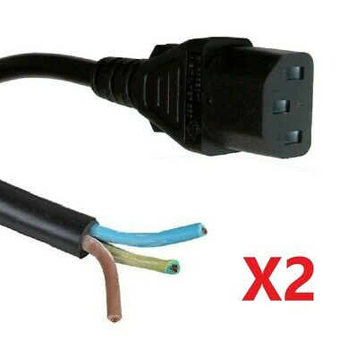 2 X 1m Kettle Lead With Bare Ends C13 IEC Power Cable PC / Monitor /  • 3.80£