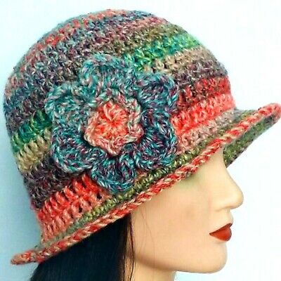 £10.99 • Buy LADIES CHUNKY CLOCHE HAT Mothers Day Gift Rainbow Girl Floral Bucket Beanie 45