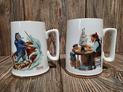 $ CDN11.88 • Buy Set Of 2 Vintage NORMAN ROCKWELL Coffee Mugs - For A Good Boy/Braving The Storm