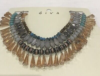 £8.99 • Buy New Diva By Miss Selfridge Gold, Bronze, Grey & Turquoise Necklace