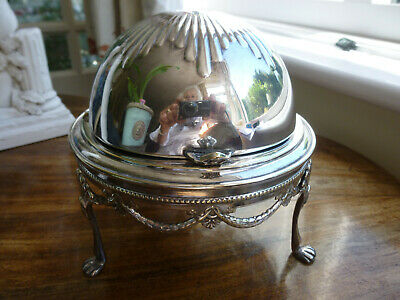 Silver Plated Ornate Roll Top Caviar / Butter Dish With Glass Dish. • 35£