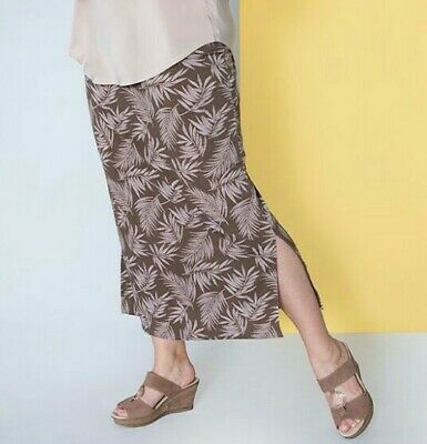 Kasara Maxi Skirt Brown Leaf Design, With 2 Leg Splits Size Small Fit 6,8,10 UK  • 6£
