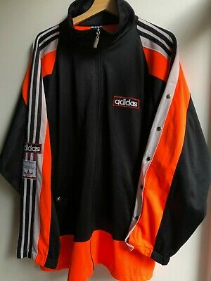 Vintage Adidas Jacket Made In West Germany 1980's Track Top Black Orange Size XL • 65£