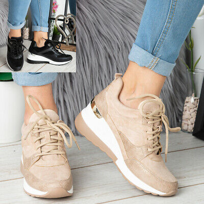£18.59 • Buy Ladies Wedge Hidden Trainers Womens Sneakers Lace Up Comfy Classic Pumps Shoes