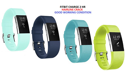 $ CDN29.03 • Buy Fitbit Charge 2 Fitness Activity Tracker - Navy Teal Turquoise  - Hairline Crack