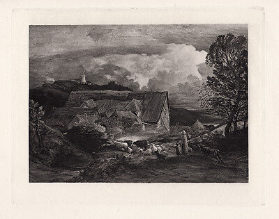 Extraordinary 1800s Samuel PALMER Antique Engraving  The Farmyard  FRAMED COA • 90.55£