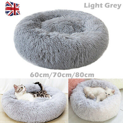 Pet Dog Cat Calming Beds Comfy Shag Warm Fluffy Bed Nest M L XL Fur Donut Pad UK • 12.99£