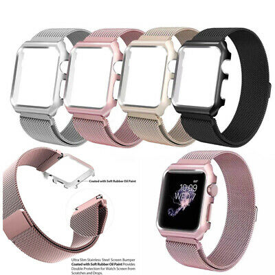 $ CDN12.97 • Buy For Apple Watch Series 5 4 321 Magnetic Stainless Steel Band Strap + Metal Case