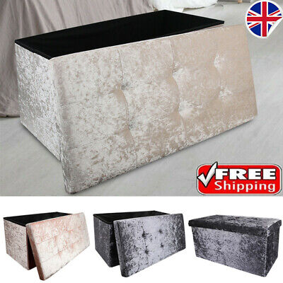 2 Seat Large Crushed Velvet Foldable Ottoman Storage Box Double Bed Foot Stool • 25.49£
