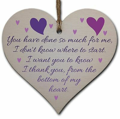 £3.49 • Buy Handmade Wooden Hanging Heart Plaque Gift For Someone Special Thank You Keepsake