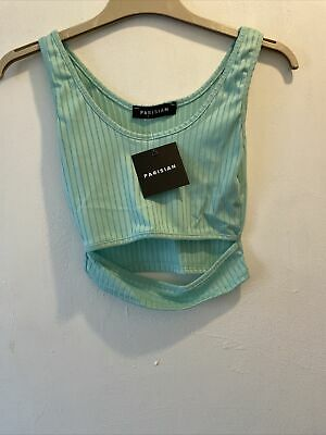 £3 • Buy Brand New Cut Out Front Ribbed Top Teal Size 8!