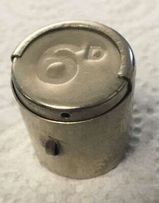 Spring Loaded 6D Sixpence Metal Dispenser Store Container • 0.99£