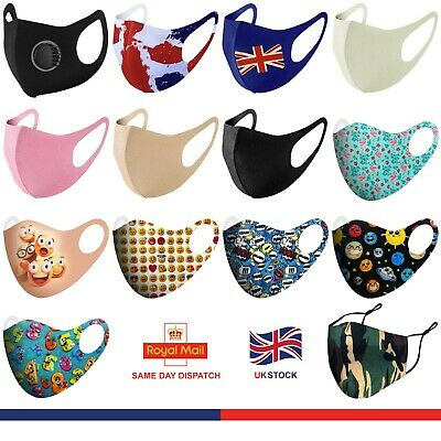 Face Mask Washable UK Reusable Masks Mouth Nose Breathable Protection Cover • 3.99£