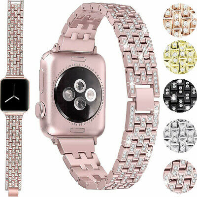 $ CDN16.60 • Buy For Apple Watch Band Series 5 4 3 2 1 Bling Stainless Steel Watch Crystal Strap