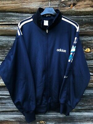 Vintage 70's 80's ADIDAS Track Top Jacket Navy Blue Medium Made In West Germany • 27£