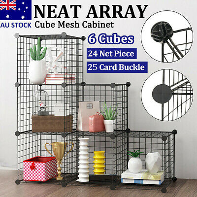 AU46.99 • Buy 6/8/12Cube DIY Wire Grid Mesh Bookcase Storage Cabinet Organiser Display Rack AU