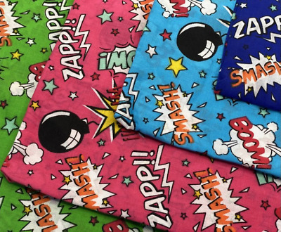 NHS Scrubs Masks Pow Wow Smash Superhero Hero Fun Polycotton Fabric Fat Quarters • 3.35£