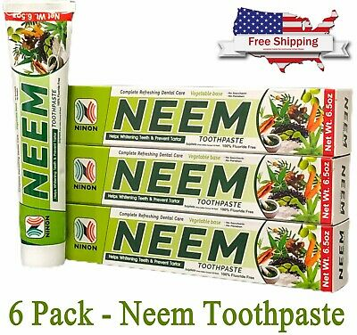 Neem Toothpaste 6 Pack Herbal Active Formula 100% Fluoride Free Bulk Lot • 14.27£
