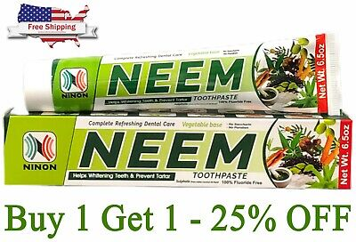 Neem Toothpaste 1 Tube 6.5 Oz. 100% Fluoride Free Active Formula Oral Care  • 5£
