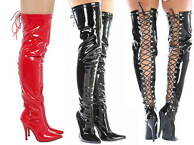 £33.99 • Buy Over The Knee Lace Up Thigh High Women Ladies High Heel Boots UK Size 3-12