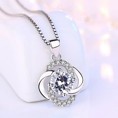 925 Sterling Silver Crystal Swirl Stone Pendant Chain Necklace Womens Jewellery • 3.47£