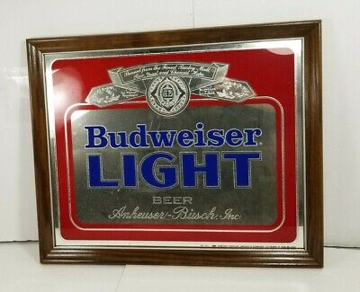 $ CDN92.26 • Buy Vintage Budweiser Light Beer Mirror Sign 18  X 22   Pre Bud Light Anheuser Busch