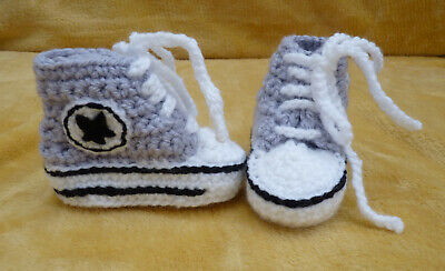£10 • Buy Hand Made Baby Crochet Converse Style Bootees - Grey/white 0-3 Months + (new)