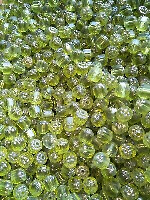 AU2.45 • Buy 30x Czech Cathedral Octagon Cut Beads  Green Glass Fire Polished (jb1860)