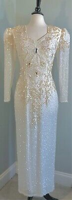AU77.88 • Buy VTG 80's Ivory Gown Maxi Pearls Beaded Dynasty! Pad Puff Shoulders! Wedding S