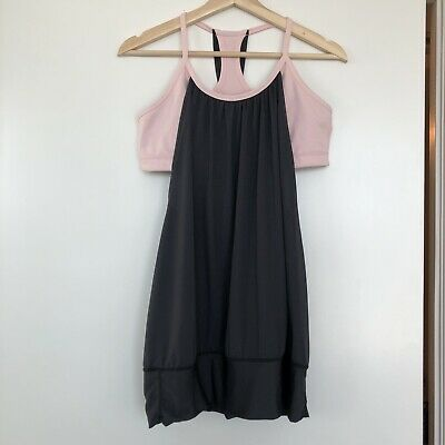 $ CDN22 • Buy Lululemon No Limits Tank Top With Built In Bra Womens Sz 8 Gray/pale Pink