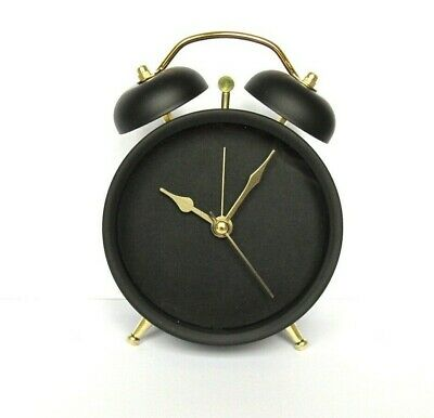 Stunning Black And Gold Electronic Alarm Clock.Simple Style With Ornamental Bell • 12.99£