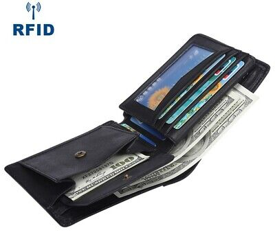 AU19.95 • Buy Mens RFID Wallet Black Leather With Coin Pocket Bifold Credit Card ID Slot