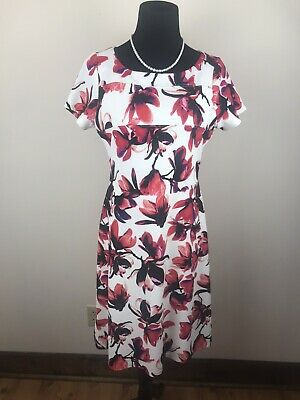 $ CDN36.54 • Buy IVANKA TRUMP Floral  White Red Short Sleeve A-line Knit Dress Size 10