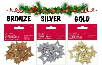 Wooden Christmas Star Embellishments, Glittered Star Shapes For Crafting/cards • 2.99£