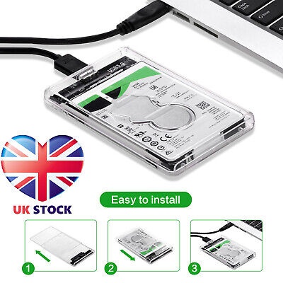 SATA To USB 3.0 Hard Drive Case Enclosure For 2.5 Inch SSD / HDD External • 5.99£
