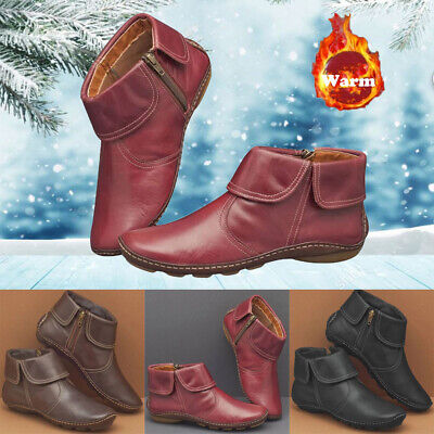 Womens Zip Leather Ankle Boots Ladies Vintage Flat Heel Arch Support Comfy Shoes • 17.69£
