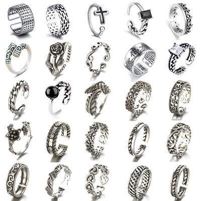 £2.59 • Buy Sterling Silver 925 Adjustable Open Band Thumb Rings Womens Mens Toe Rings Gift