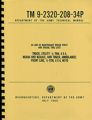 $30.88 • Buy TM9-2320-208-34P ~ Direct & General Support Parts Manual ~ M38A1 Jeep ~ Reprnt