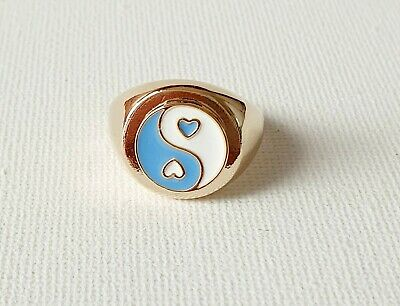 Gold Pastel Blue Heart Yin Ying Yang Ring 90s Other Bloggers Stories  • 11.99£