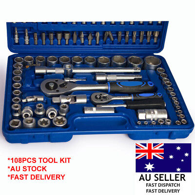 AU85.99 • Buy 108 Pcs 1/2  & 1/4  SOCKET SET COMPACT CASE TOOL KIT Screwdriver Bit Torx Driver