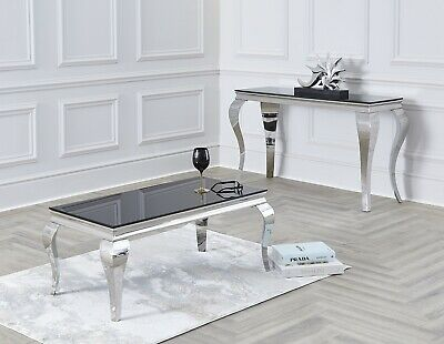Louis Coffee Table 100cm In Black / Grey / White /White Marble Glass Chrome Legs • 219£