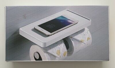 Double Toilet Roll Holder With Shelf • 20£