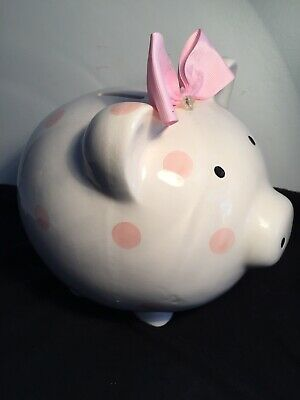 Nice Big Fat Piggy Bank / White & Pink  • 6£