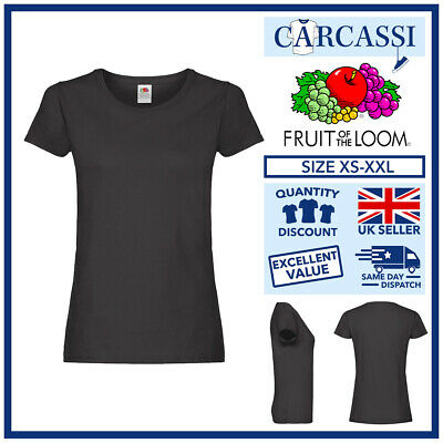 Ladies Womens Fruit Of The Loom Plain Black Cotton Fitted T-Shirts Tee Shirt • 3.99£