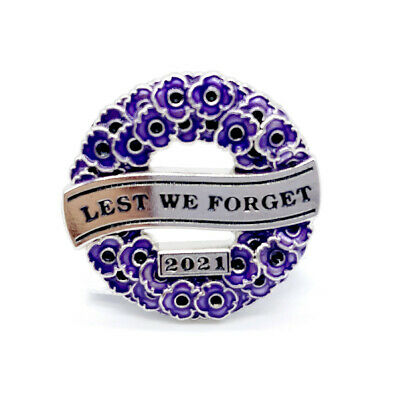 £3.19 • Buy 2021 Wreath Of Red Purple Poppy Pin Badge Brooch Enamel Remember The Animals