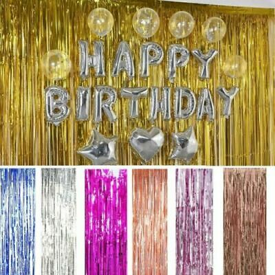 2M/3M Foil Fringe Tinsel Shimmer Curtain Door Wedding Birthday Party DECORATIONS • 3.85£
