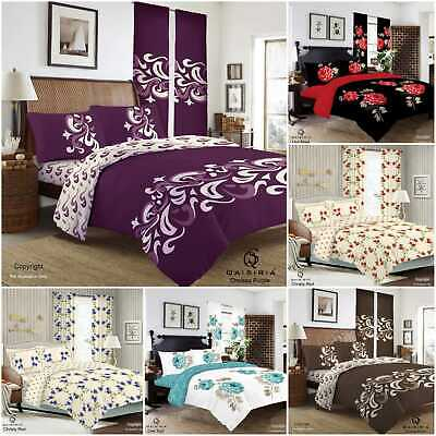 £19.95 • Buy Complete Duvet Set Quilt Cover Fitted Sheet Pillow Cases Or Matching Curtains