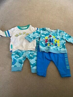 0-3 Months Twin Baby Boys Clothes Bundle • 40£